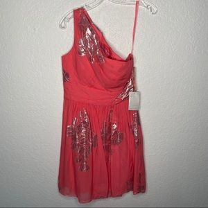 Eliza J Nordstron NWT One Shoulder Coral  Dress